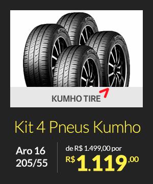 Kit 4 Pneus Kumho Aro 16 205/55 - de R$ 1.499,00 por R$ 1.119,00